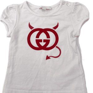 Authentic Gucci White Tees Top Girls Size 6-9 m